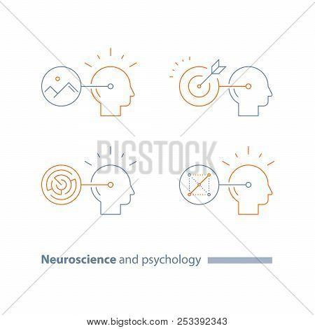 Logic smart games, strategic concept logo, brain training task, optical illusion, labyrinth, riddle solving, critical thinking development, cognitive skill improvement, vector line icon, thin stroke stock photo