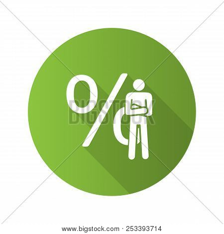 Businessman flat design long shadow glyph icon. Investor. Man standing in confident pose with percent sign. Marketer, analyst, economist, investor. Vector silhouette illustration stock photo