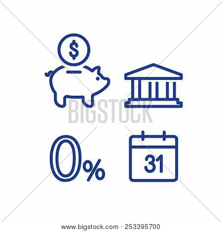 Zero percent sign, financial calendar line icon, monthly payment outline, annual income, piggy bank saving account, money return, asset allocation, long term investment pension fund, superannuation stock photo
