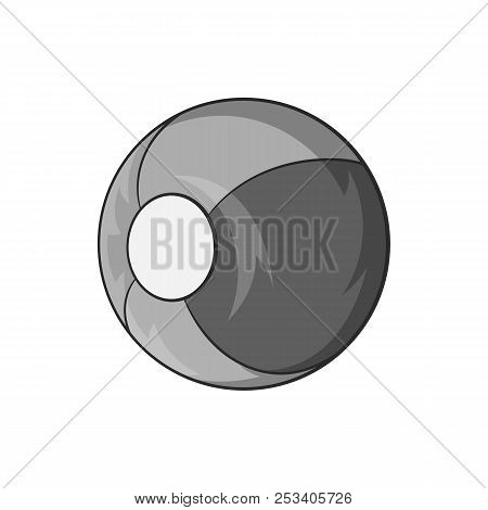 Childrens ball icon in black monochrome style isolated on white background. Games and toys symbol illustration stock photo