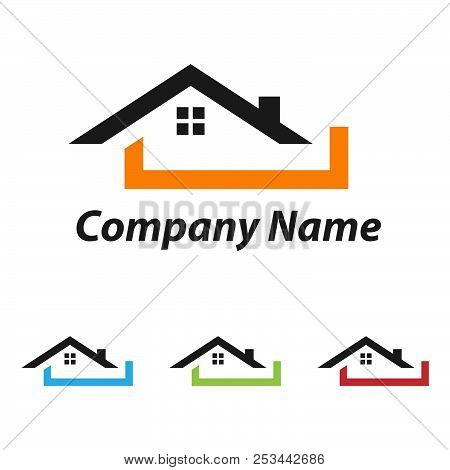 Real estate logo concept illustration,Building logo in classic graphic style, Citysearch logo, Abstract vector logo of buildings, Skyscrapers logo, Vector logo template, Design element.EPS 8.EPS 10 stock photo