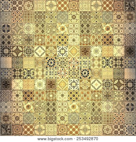 Old wall ceramic tiles patterns handcraft from thailand parks public stock photo