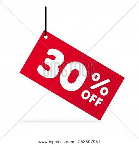 30% OFF discount. Discount offer price Illustration. Vector discount symbol. Hung red  tag. White background. stock photo