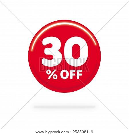 30% OFF discount. Discount offer price Illustration, Vector discount symbol. Red ball. White background. stock photo