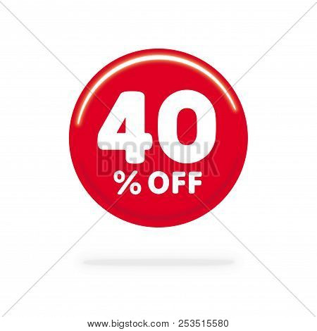 40% OFF discount. Discount offer price Illustration, Vector discount symbol. Red ball. White background. stock photo