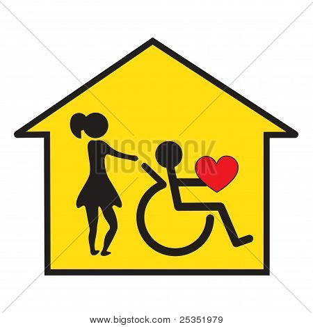 Signal for the home care of disabled stock photo