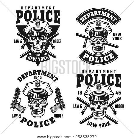 Police department set of vector emblems, badges, labels or t shirt prints with policeman skull in hat isolated on white background stock photo