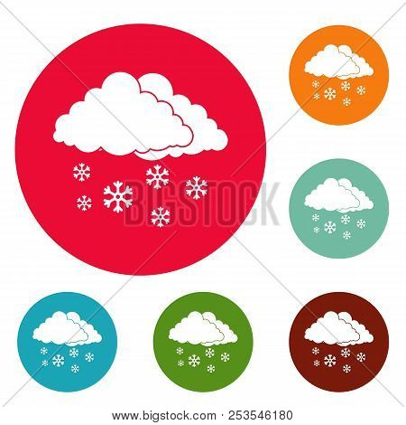 Snow cloud holiday icons circle set  isolated on white background stock photo