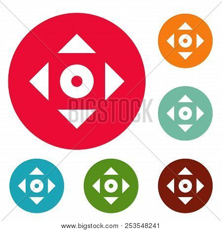 Cursor displacement app icons circle set  isolated on white background stock photo