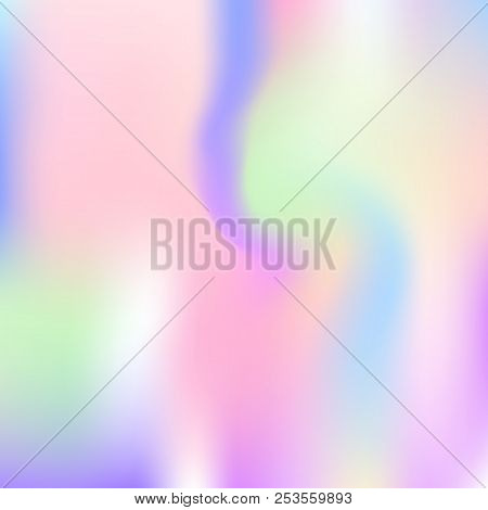 Gradient mesh abstract background. Spectrum holographic backdrop with gradient mesh. 90s, 80s retro style. Pearlescent graphic template for banner, flyer, cover design, mobile interface, web app. stock photo