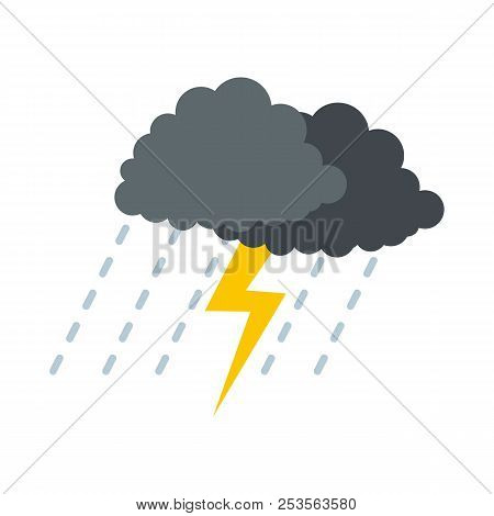 Cloud thunder icon. Flat illustration of cloud thunder  icon isolated on white background stock photo