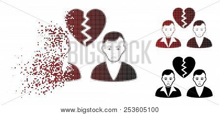 Sad divorce gays icon in sparkle, dotted halftone and undamaged solid variants. Pieces are organized into vector dissipated divorce gays icon. Person face has pitiful expression. stock photo