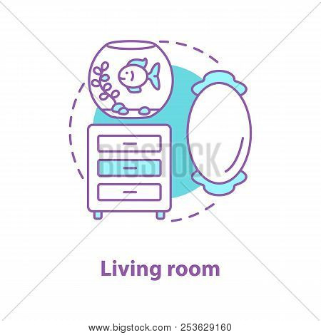Living room interior concept icon. Room design idea thin line illustration. Wall mirror, aquarium and commode. Vector isolated outline drawing stock photo