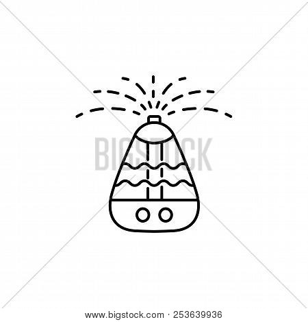 Vector illustration of portable air humidifier. Line icon of moisture regulation appliance. Climate equipment for home & office. Isolated object on white background. stock photo
