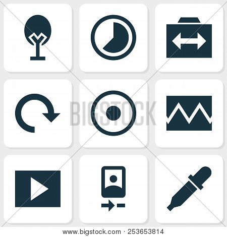 Picture icons set with timelapse, rotate, slideshow and other accelerated elements. Isolated  illustration picture icons. stock photo