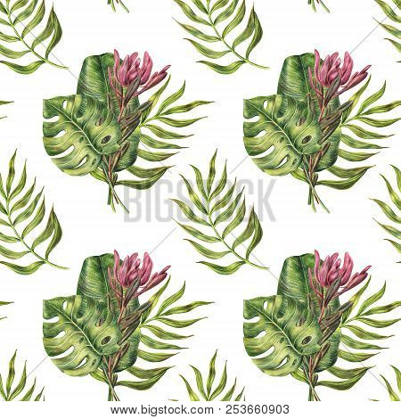Seamless pattern of pink protea and monstera, areca, banana palm leaves, colored pencil raster illustration on white background. Seamless pattern of palm leaves and protea flower on white background stock photo