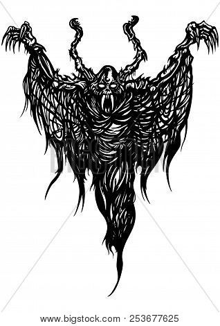 Illustration black&white ghost monster with ragged wings like a spider web stock photo