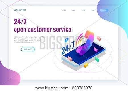 Web page design templates for call center support 24-7. Isometric 24 hours open customer service. Vector illustration Customer Service, Support or CRM stock photo