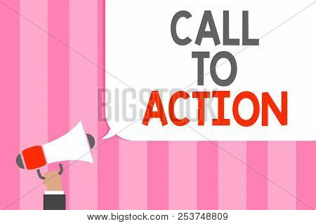 Conceptual hand writing showing Call To Action. Business photo showcasing Encourage Decision Move to advance Successful strategy Man holding megaphone loudspeaker speech bubble message loud. stock photo