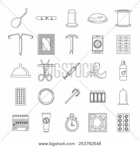 Contraception Day control pill medication oral test icons set. Outline illustration of 25 Contraception Day control pill medication oral test vector icons for web stock photo