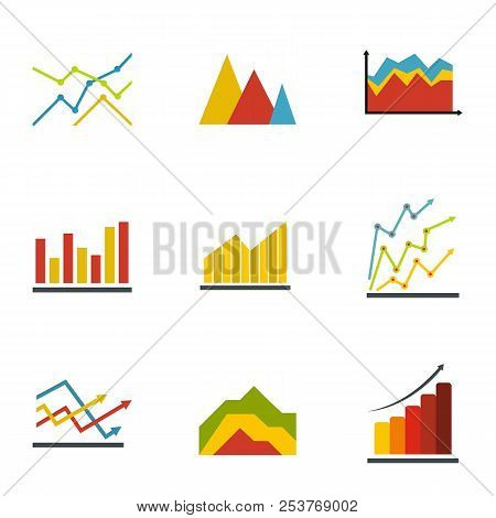 Graph icons set. flat set of 9 graph icons for web isolated on white background stock photo
