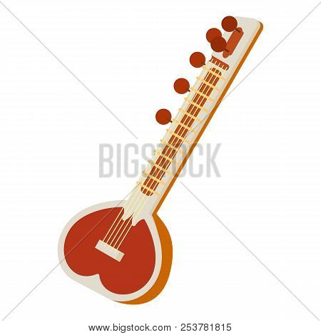 Sitar icon in cartoon style isolated on white background. Musical instrument symbol illustration stock photo