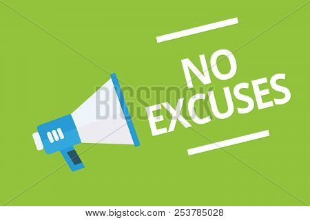 Handwriting text writing No Excuses. Concept meaning telling someone not to tell reasons for certain problem Megaphone loudspeaker green background important message speaking loud. stock photo