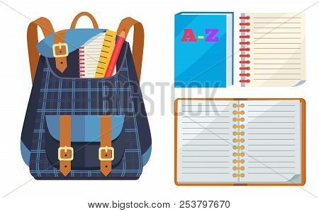 Dark blue backpack in checkered fabric with school stationery accessories pencil, wooden and open ABC copybook vector illustration isolated on white. stock photo