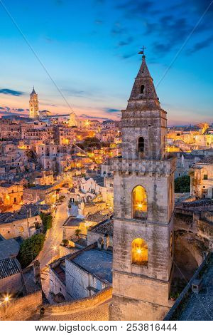 Matera, Italy. Cityscape image of medieval city of Matera, Italy during beautiful sunrise. stock photo