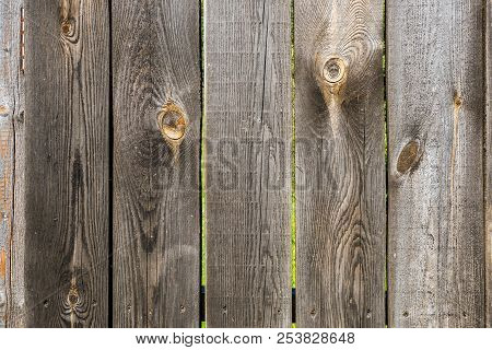 Close up of stripped fence made of wooden planks with scratches and natural wooden pattern. Abstract texture background stock photo
