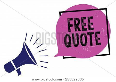 Handwriting text Free Quote. Concept meaning A brief phrase that is usualy has impotant message to convey Megaphone loudspeaker speaking loud screaming frame purple speech bubble. stock photo