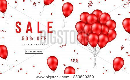Sale Banner with Red Balloons Bunch on White Background. Vector illustration. stock photo