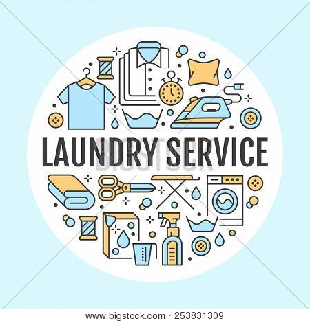 Dry cleaning, banner illustration with flat line icons. Laundry service equipment, washing machine, clothing shoe repair garment steaming. Circle template thin linear signs launderette poster stock photo