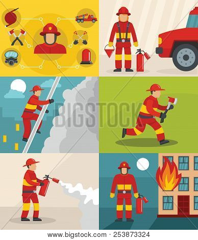 Fire fighter banner concept set. Flat illustration of 6 fire fighter banner horizontal concepts for web stock photo