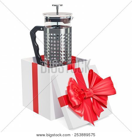 French Press Coffee or Tea Maker inside gift box, gift concept. 3D rendering isolated on white background stock photo