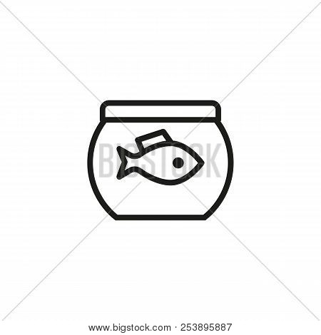 Fish swimming in aquarium line icon. Fishbowl, jar, fauna. Pet shop concept. Vector illustration can be used for topics like home, pet, decorative fish stock photo