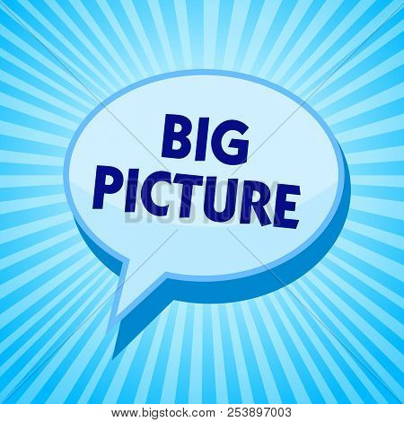 Word writing text Big Picture. Business concept for most important facts about certain situation and its effects Blue speech bubble message reminder rays shadow important intention saying. stock photo