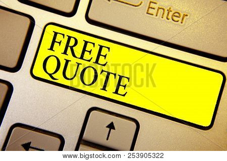 Handwriting text Free Quote. Concept meaning A brief phrase that is usualy has impotant message to convey Keyboard yellow key Intention create computer computing reflection document. stock photo