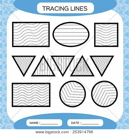 Tracing Lines. Kids Education. Preschool Worksheet. Basic Writing. Kids  Doing Worksheets. Fine Motor Skills. Waves And Zigzag Lines. Blue  Background. Square, Circle TriangleVector Stock Images Page Everypixel