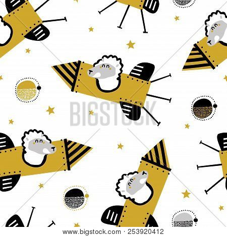 Childish seamless pattern with lama on a rocket in space. Vector texture in childish style great for fabric and textile, wallpapers, backgrounds. Creative space childish texture. stock photo