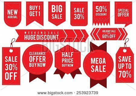 Set Ribbon Banner And Label Sticker Sale Offer And Badge Tag Sale Advertising. Flat Labels, Ribbons