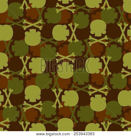 Skull and Bones army pattern seamless. death military background. soldiery Crossbones skeleton ornament. Vector war texture stock photo