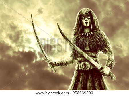 Amazon with two swords in battle. Fantasy illustration. Green color background stock photo