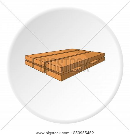 Processed wooden logs icon in cartoon style on white circle background. Felling symbol illustration stock photo