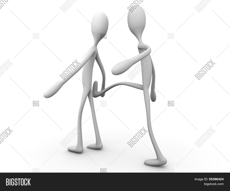 He kicked him. 3D rendered cartoon illustration.