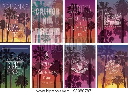 Set of Exotic Print with Palms for T-shirt. Summer Travel Backgrounds . Party and Vacation Banners.