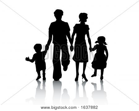 Family Silhouette with Clipping Path over white stock photo