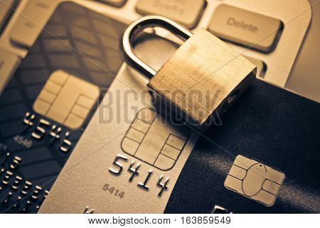 Security lock on credit cards / Credit cards data encryption for security concept