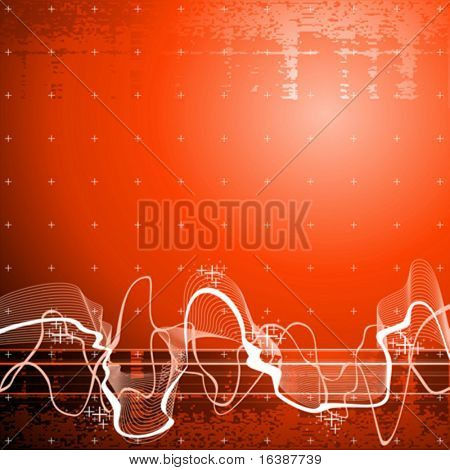 Sound wave, red technology background stock photo