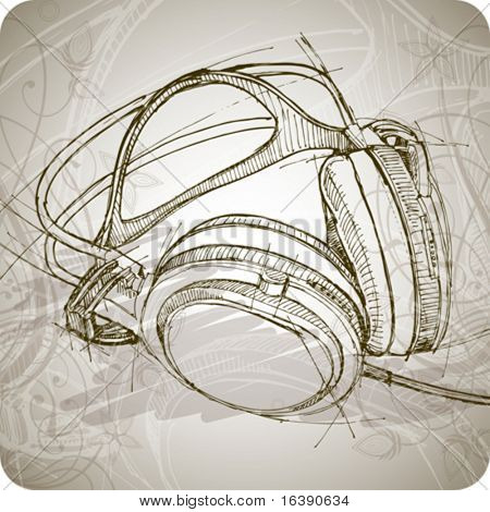 Croquis d'écouteurs sur le fond avec des motifs floraux
